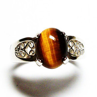"Tigers eye ring,  cabochon ring, cats eye ring, solitaire ring, brown, brown ring, s 73/4  ""Temptress"""