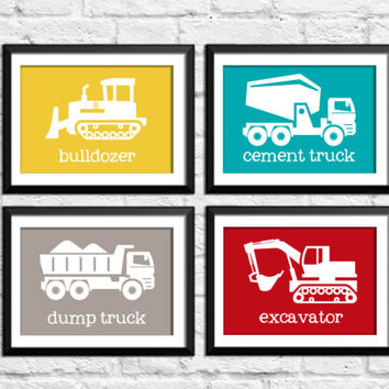 baby boy construction decor, kids decor, trucks art prints, trucks wall decor, construction transportation posters, bulldozer cement truck