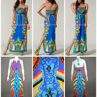 MAXI DRESSES BOHO INDIE VINTAGE MALIBU BEACH 70'S PRINTED STRAPLESS or HALTER