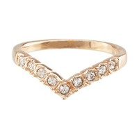 FM42 Princess Crown Design Clear Crystal Wishbone Ring R10