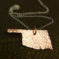 I Heart  OKLAHOMA copper necklace , sterling silver chain, textured hand-hammered copper