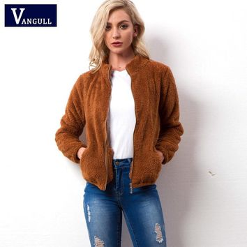 Cool Vangull Velvet basic jacket coat Women warm casual Fur jackets female 2018 New Long Sleeve Female Zipper Overcoat OuterwearAT_93_12