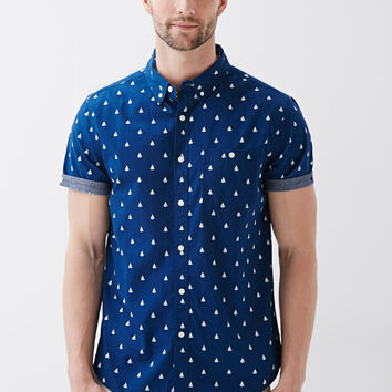Sailboat Print Button-Down Shirt