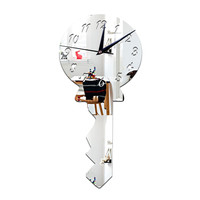 Silent Wall Clock Creative Mirror Key    silver