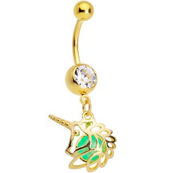Clear Gem Gold Tone Glow Orb Unicorn Dangle Belly Ring