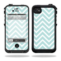 Mightyskins Protective Vinyl Skin Decal Cover for LifeProof iPhone 4 / 4S Case wrap sticker skins Aqua Chevron