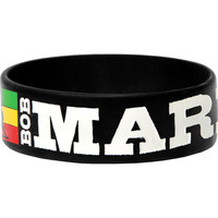 Bob Marley Men's Stripes Rubber Bracelet Black