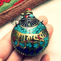 Tibetan six words mantras amulet pendants ~Nepal Brass Medium