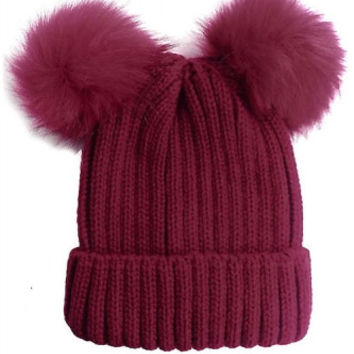 Double Fur Pom Pom Knit Beanie Hat - Raspberry