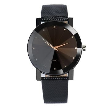 Stainless Steel Dial Leather Band Wristwatch