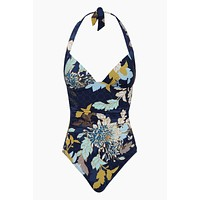 Gathered Halter One Piece Swimsuit - Ink Floral Print