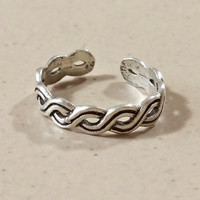 Silver Toe Ring Weaved Silver Black Design 925 Sterling Silver Adjustable One Size Fits Most Can Be Worn As Finger Ring Too