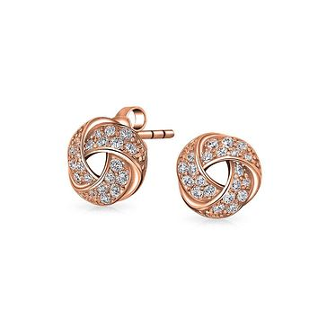 Love Knot Pave Clip On Earring Rose Gold Plated 925 Sterling Silver