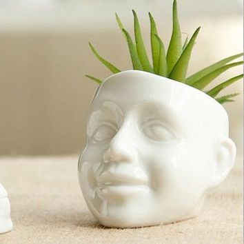 Smile Human Face Succulent Pot | White Ceramic Mini Cactus Plant DIY Potted Desktop Balcony Vase Home Decor Planter