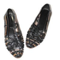 black + gold leather huaraches 80s vintage woven leather huarache pointy flat tie shoes size 7.5
