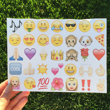 Emoji Stickers - planner stickers, fun paper stickers, pack of 35