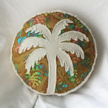 Palm tree boho pillow, tropical gold brown multi color leaf batik and distressed natural denim round pillow