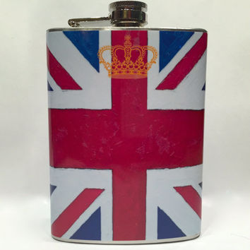UK Flag Stainless Steel 8oz Hip Flask Painted British Britain Union Jack Gold Royal Crown Logo