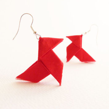 Red Origami silk earrings