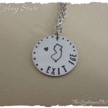 Personalized Hand Stamped Color Necklace - Choose State and exit - Home - USA - Silver Jewelry - Unisex - Gift for him Gift for her