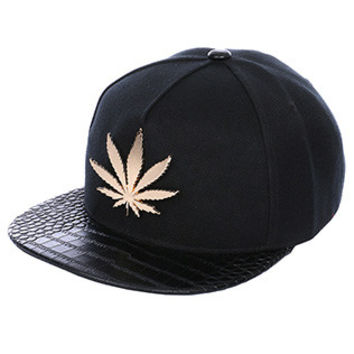Gold Metal Leaf Hat in Black