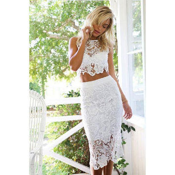 New High quality Bodycon Two Piece Dress Sexy White Crochet Lace Hollow Out Pencil Dress Summer Club Women 2 Piece Clothing Set