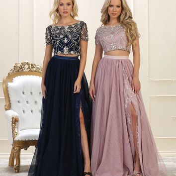 Prom Long Formal Dress Two Piece Set Gown