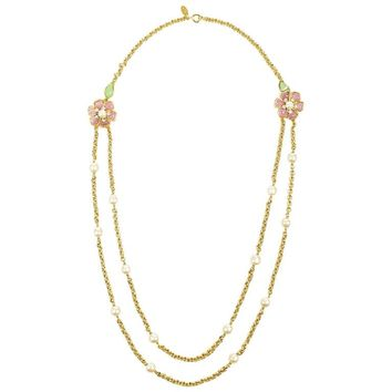 Vintage Chanel Gold Tone Pink Green Gripoix Faux Pearl Flower Chain Necklace