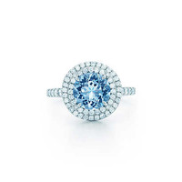 Tiffany & Co. - Tiffany Soleste® ring in platinum with a 1.25-carat aquamarine and diamonds.