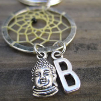 Buddha Initial Dream Catcher Keychain