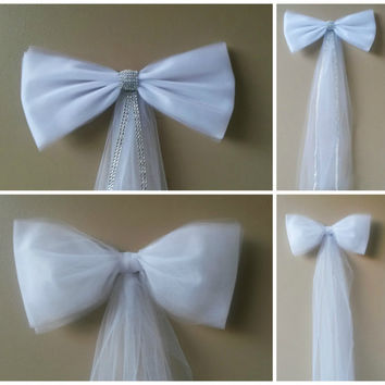 White Tulle Wedding Bow, Church Pew Bow, Wedding Pew Bow,  Bridal Shower Bow, Anniversary Bow, Wreath Stair Door Mailbox Church Decoration