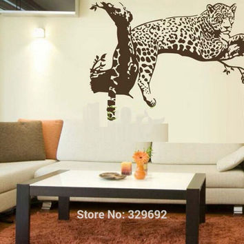 free shipping Large Leopard vinyl wall sticker Home Decoration  Animal Wall decor Wall Mural wallpaper tx-033