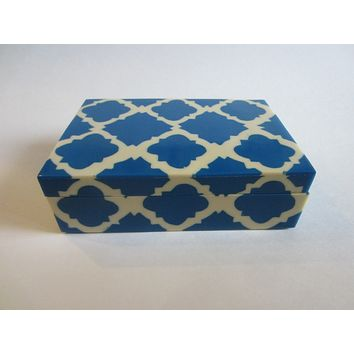 Chevron Blue White Humidor Modern Box Made in India