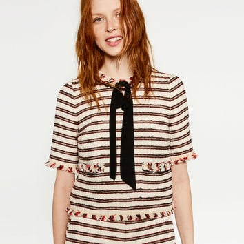JACQUARD TOP WITH BOW - Blouses-TOPS-WOMAN | ZARA United Kingdom