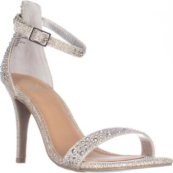 MG35 Blaire Ankle Strap Dress Heel Sandals, Silver, 5 US