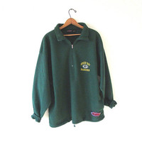 Vintage 90's Green Bay PACKERS Football FLEECE Quarter Zip Pullover Sweatshirt Jacket Sz L/XL