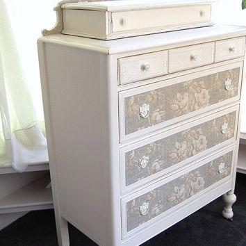 Painted  Distressed Chic Dresser with Roses and French Blue Paper