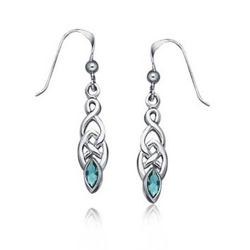 Blue Topaz Celtic Knot Aqua Blue Marquise Earrings Sterling Silver