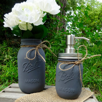 Mason Jar Bathroom or Kitchen Set. 2 Piece Painted Mason Jars Slate Grey Bathroom Organizer. Soap Dispenser. Housewarming Gift. Rustic Decor