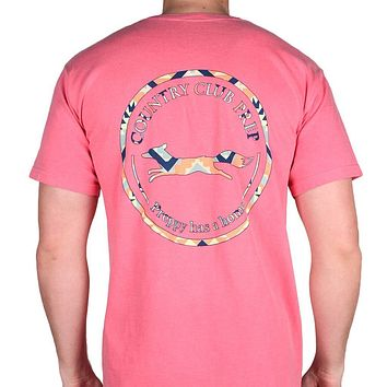 The Aztec Pattern Original Logo Tee Shirt in Crunchberry by Country Club Prep