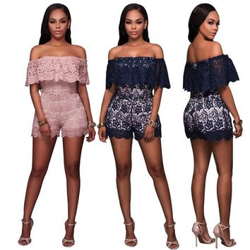 Fashion Retro Hollow Lace Frills Off Shoulder Romper Jumpsuit
