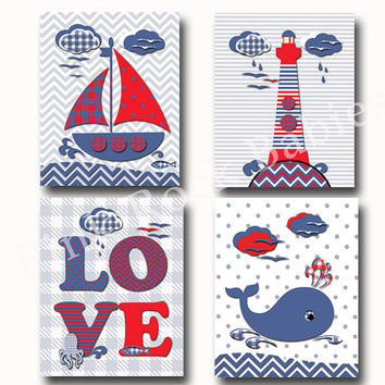 Nautical nursery decor, custom children art, Kids room decor, navy and red nursery, nautical bath decor, kids bathroom, nautical baby shower