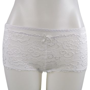 Womens sexy Lace Floral Patterned Boy Shorts Panty