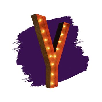 "36"" Letter Y Lighted Vintage Marquee Letters (Rustic)"