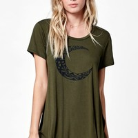 LA Hearts Jewel Moon Side Slit T-Shirt - Womens Tee - Green