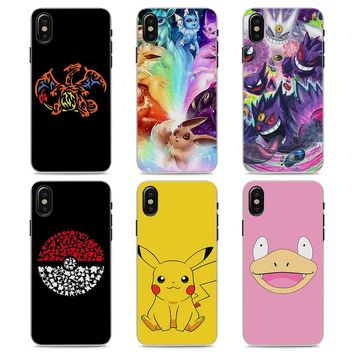 MOUGOL cartoon pokemons eevee pika Style Clear hard Phone Case for Apple iPhone X 7 8 8Plus 7Plus 6 6s 6Plus SE 5 5s 4s