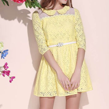 Peter Pan Collar High Waisted Half Sleeve Mini Lace Dress