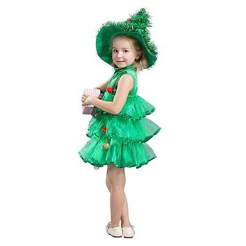 ABWE Best Sale Baby Girl Sleeveless Dresses Children Green Clothes Christmas Halloween Costumes Christmas Tree Dress and Witch