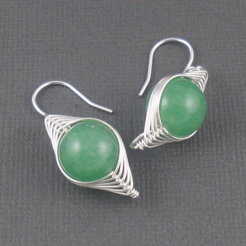 Green Aventurine Sterling Silver Herringbone Wire Wrapped Earring - Semi Precious Earring - Drop Earring - Simple Jewellery