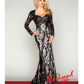 Mac Duggal 2014 Prom Dresses - Black Lace & Satin Long Sleeve Prom Gown